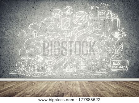 Room interior with business sketches on wall