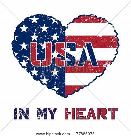 Independence day USA background with heart-flag. Symbol of 4th july celebration the United State of America. Happy fourth july holiday patriotic flag banner template. Vector illlustration