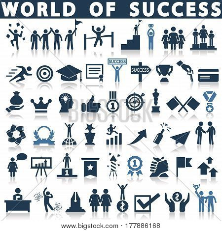 success icon set on a white background with a shadow