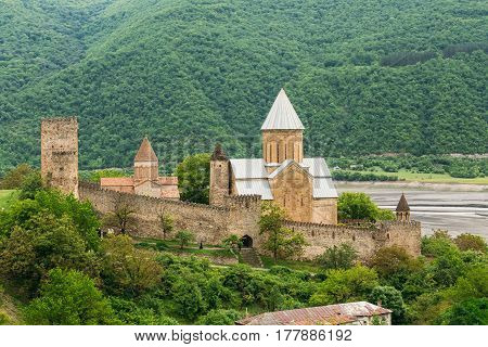 Castle complex Ananuri in Georgia, about 72 kilometres from Tbilisi. Large tower, Sheupovari, is well preserved and is location of last defense of Aragvi against Shamshe. Round tower in ruins.