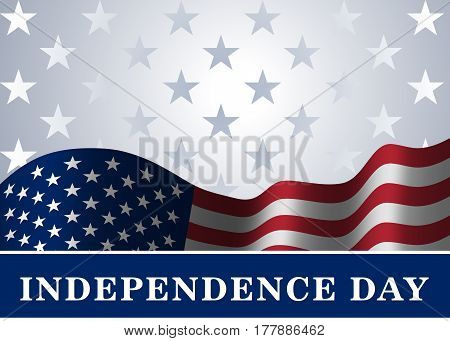 Independence day USA background with flag. Symbol of 4th july celebration the United State of America. Happy fourth july holiday patriotic flag banner template. Vector illlustration