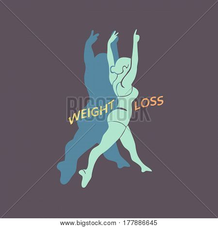 Weight loss icon. Woman Body challenge program concept. Freehand drawn cartoon retro style. Vector losing fat female. Active lifestyle emblem. Fitness logo element. Sport training banner background