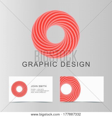 Set of red business abstract circle icon and cards for your design. Vector illustration.