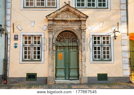 Riga, Latvia. Facade Of One Of The Three Houses. Landmark The Three Brothers Buildings. State Inspection For Heritage Protection And Latvian Museum Of Architecture.