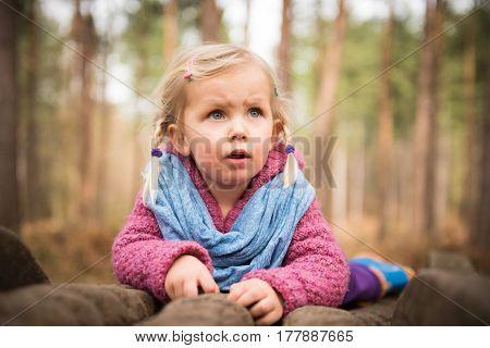 Little Girl Observing Nature