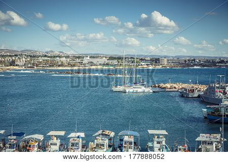Paphos, Cyprus - DECEMBER 2016: Yachts in the port