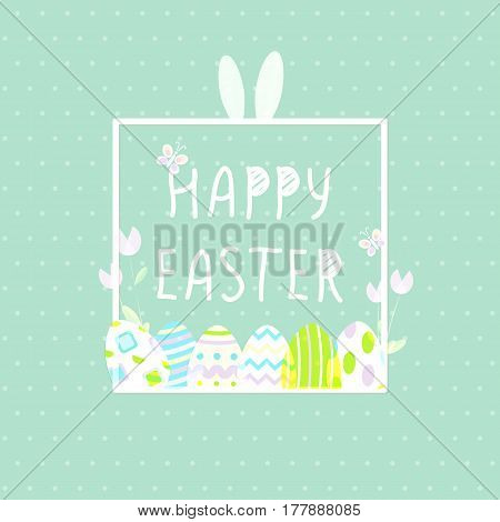 Happy Easter With eggs, Rabbit. Square poster. Vector illustration templte. Wallpaper, flyers, brochure, voucher