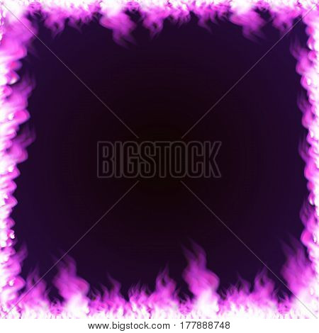 Rectangular frame with text space surrounded with realistic purple flame isolated on background. Burning fire light effect. Bonfire elements. Gradient mesh vector illustration