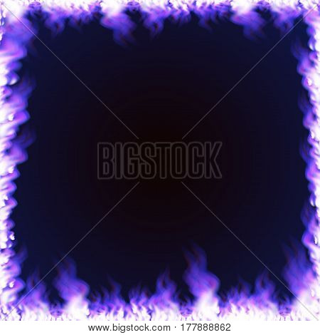 Rectangular frame with text space surrounded with realistic blue flame isolated on background. Burning fire light effect. Bonfire elements. Gradient mesh vector illustration