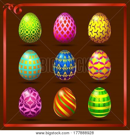 Multi colored easter eggs on a brown background with a red ribbon
