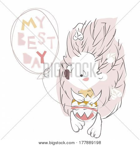Pretty little hedgehog- hand drawn doodle vector on white background.Isolated illustration sketch for ready for t-shirt print .My best day.