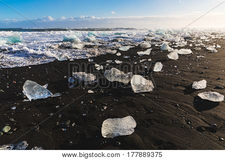 Ice Pieces On Black Sand Beach In Iceland