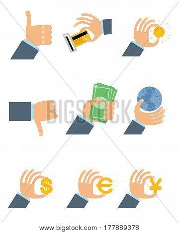 Vector illustration of a nine businessmen's hands