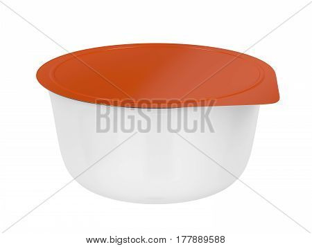 Deep drawn can with aluminum lid isolated on white background, 3D illustration