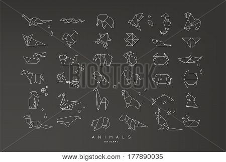Set of animals origami in flat style snake elephant bird seahorse frog fox mouse butterfly pelican wolf bear rabbit crab horse fish monkey pig turtle kangaroo on black background
