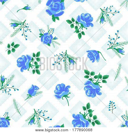 Seamless pattern with blue roses and stripes on a white background.Abstract vector illustration.Suitable for fabric, textile, gift wrapping paper and a different design.