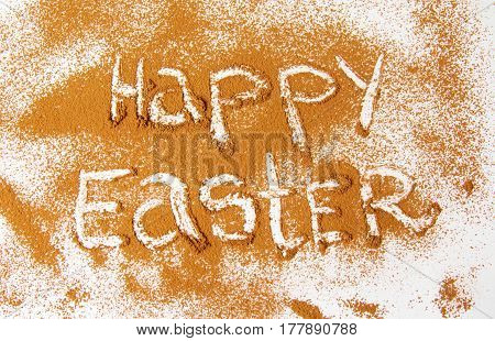 Happy Easter Written In Cacao Powder