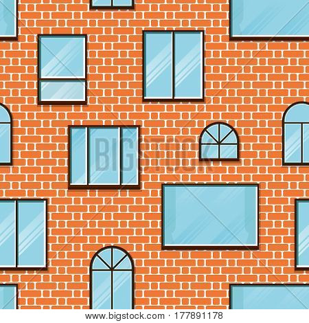 Seamless background of brick wall and window. Vector.