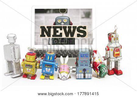 retro robot toys gather round to watch the NEWS .