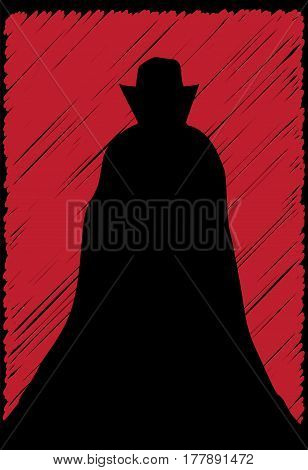 A scribble grunge Dracula Silhouette on a red background