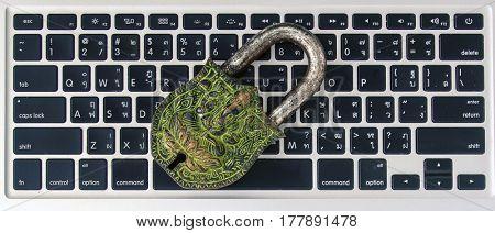Ganesh padlock ion top of a keyboard