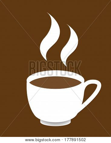 A cup of coffee design on a brown background