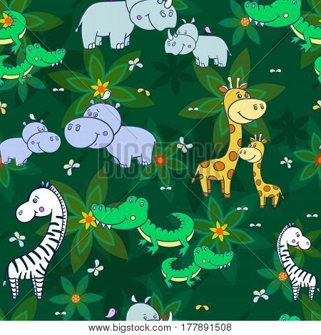 Tropical jungle.Seamless pattern with cute Hippo, zebra, giraffe, crocodile, rhinoceros and leaves on a green background.Cartoon African animals.illustration for children.Print for fabric, textile, paper.
