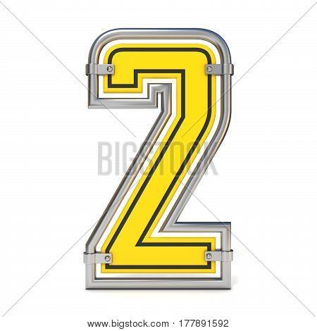 Framed Traffic Road Sign Font Number 2 3D
