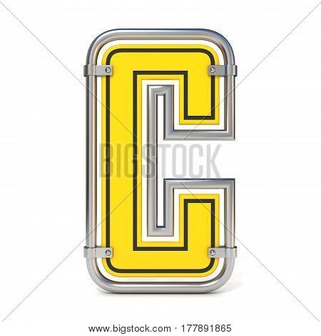 Framed Traffic Road Sign Font Letter C 3D