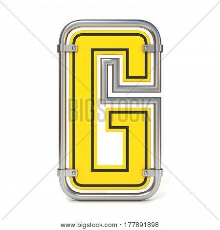 Framed Traffic Road Sign Font Letter G 3D