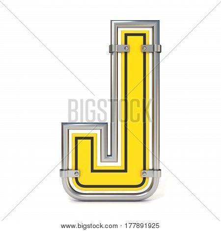 Framed Traffic Road Sign Font Letter J 3D