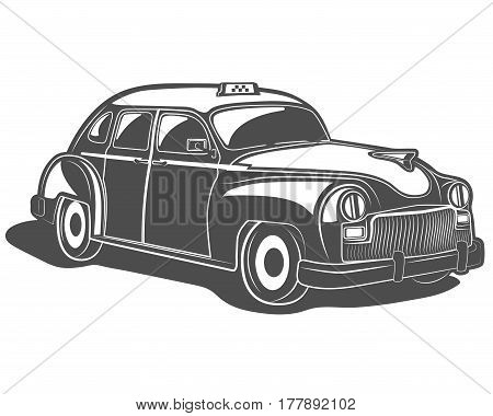 Vector illustration of a retro car taxi in black and white on a white background for logos, badges, design, print and the web