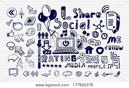 Mega collection of hand drawn social media internet concepts. Modern sketch doodle icons, text lettering and ideas