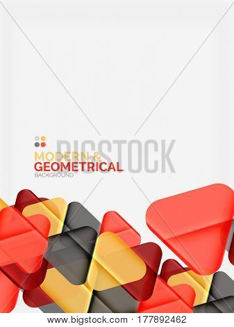 Modern colorful geometrical triangles with shiny glossy effect with sample text. abstract background design template for your slogan, message or presentation