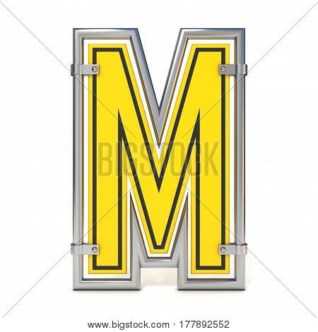 Framed Traffic Road Sign Font Letter M 3D