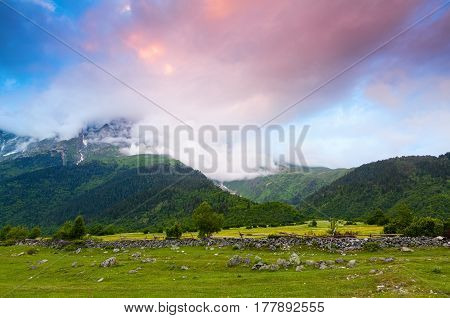 Alpine scenery with big mountains covered with glaciers and green lawns with different flowers trails and sky on a summer day. Upper Svaneti Georgia Europe.