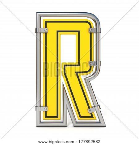 Framed Traffic Road Sign Font Letter R 3D