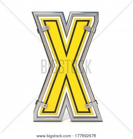 Framed Traffic Road Sign Font Letter X 3D