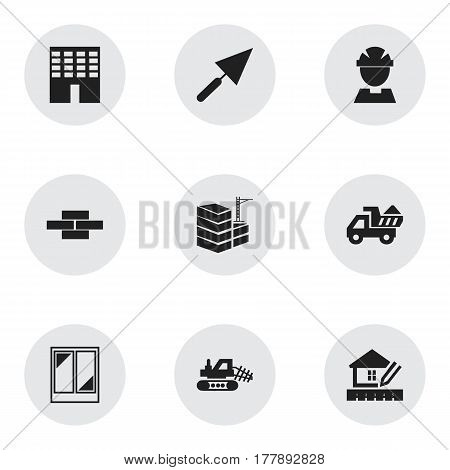 Set Of 9 Editable Building Icons. Includes Symbols Such As Home Scheduling, Building, Worker And More. Can Be Used For Web, Mobile, UI And Infographic Design.