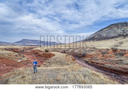 drone pilot in a rugged terrain of northern Colorado foothills