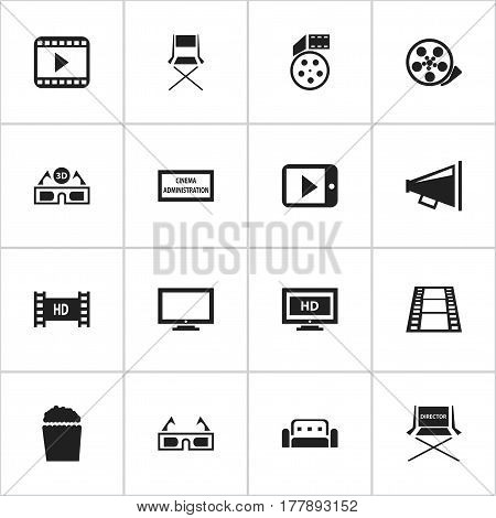 Set Of 16 Editable Movie Icons. Includes Symbols Such As Hd Screen, Theater Agency, Shooting Seat And More. Can Be Used For Web, Mobile, UI And Infographic Design.