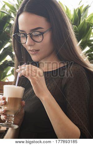 Fashion Woman Tonal Portrait With A Cocktail