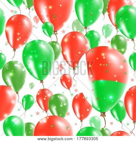 Madagascar Independence Day Seamless Pattern. Flying Rubber Balloons In Colors Of The Malagasy Flag.