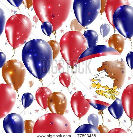 American Samoa Independence Day Seamless Pattern. Flying Rubber Balloons In Colors Of The American S