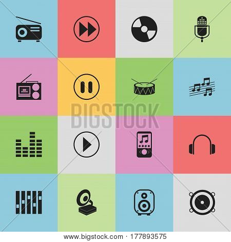 Set Of 16 Editable Media Icons. Includes Symbols Such As Media Fm, Musical Sign, Music Phone And More. Can Be Used For Web, Mobile, UI And Infographic Design.