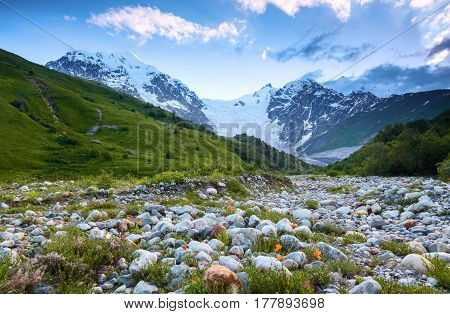 Beautiful mountain stream with colorful stones on the shore stretched among large mountains and forests. Upper Svaneti Georgia Europe.