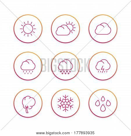 Weather line icons set, forecast elements, sunny, cloudy day, rain, snowflake, hail, snow