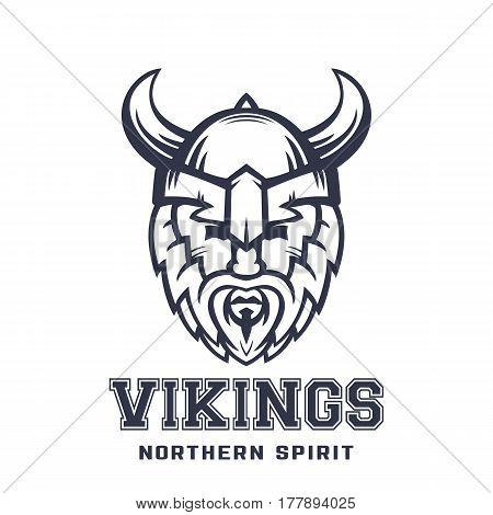 Vikings logo, bearded warrior in helmet with horns over white