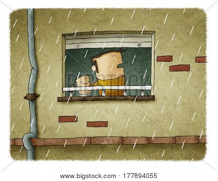 Father and son are looking through the window while it rains