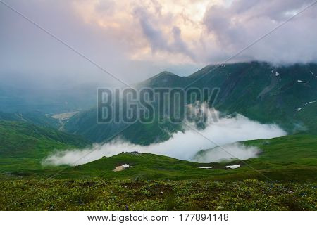 Form a green lawn opens a beautiful fascinating view fog high mountains and rays of sun. Georgia Svaneti